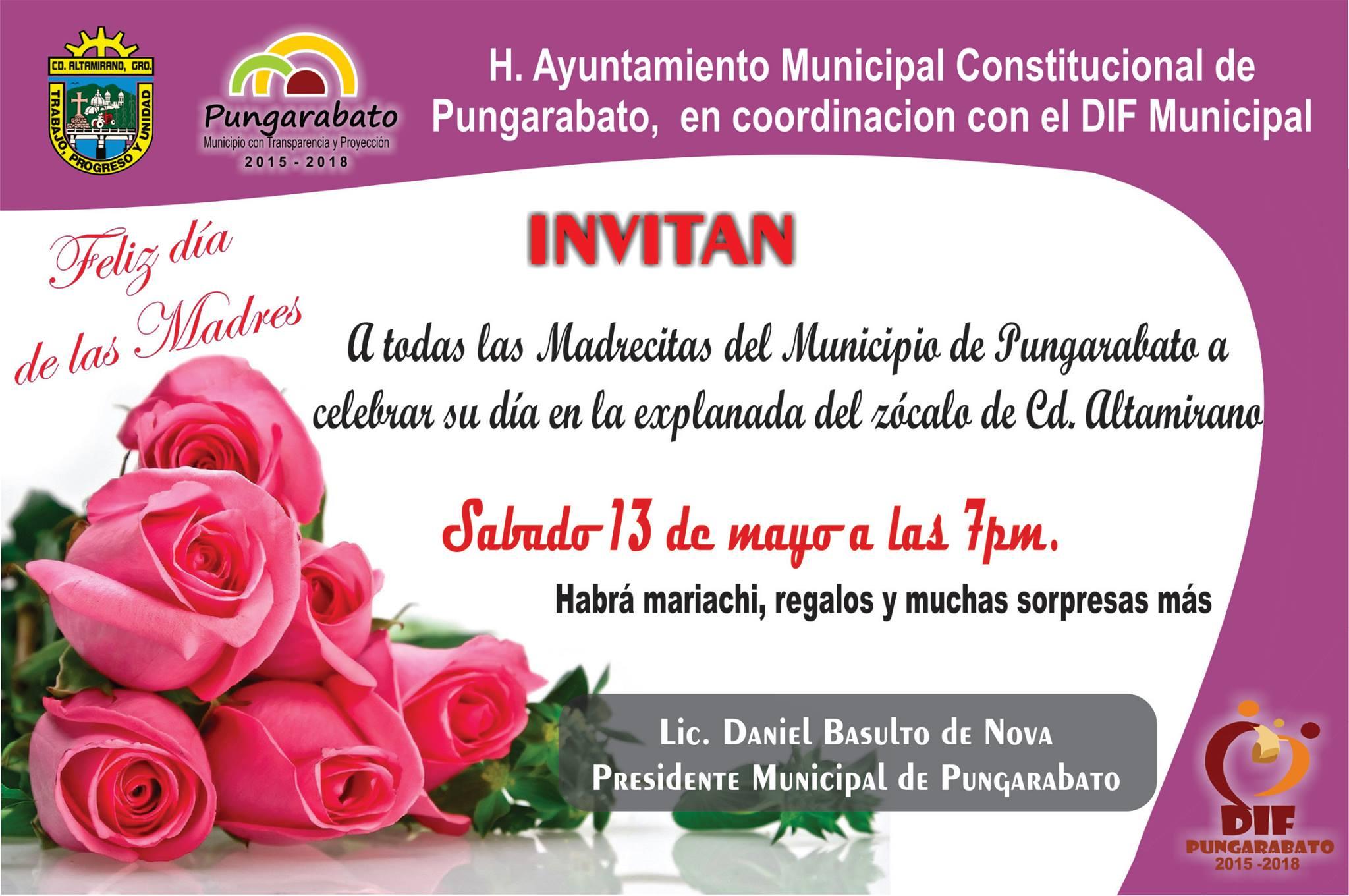 Invitacion DÍa De Las Madres RegiÓn: Invitación A Todas Las Madrecitas Pungarabatenses